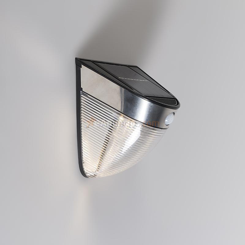 Qazqa aplique de exterior solara led negro 1335725 - Aplique solar exterior ...